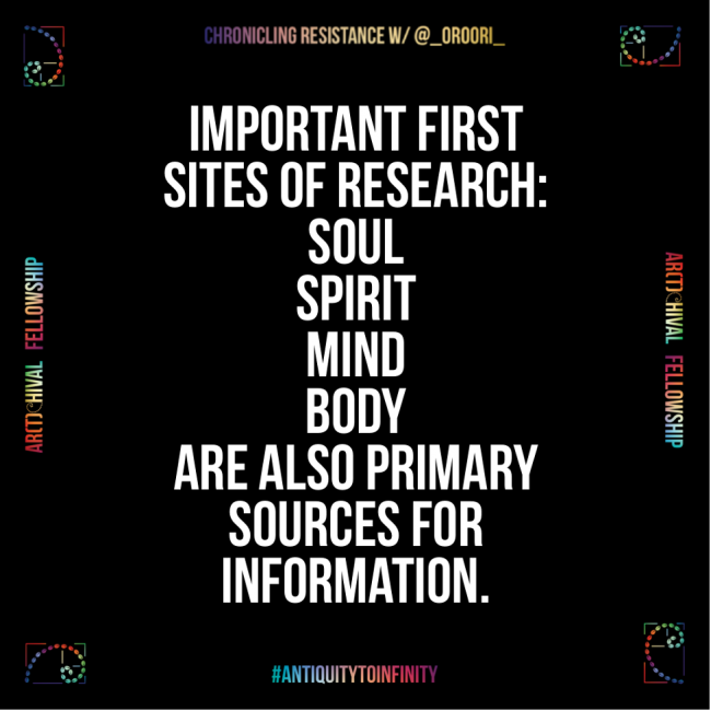 A meme stating that Important first sites of research are soul, spirit, mind, body. They are also primary sources of information.